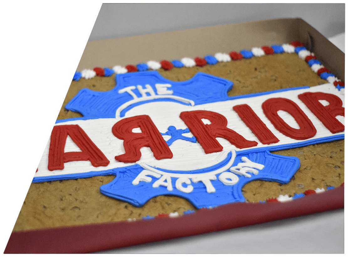 A Warrior Factory birthday cookie cake